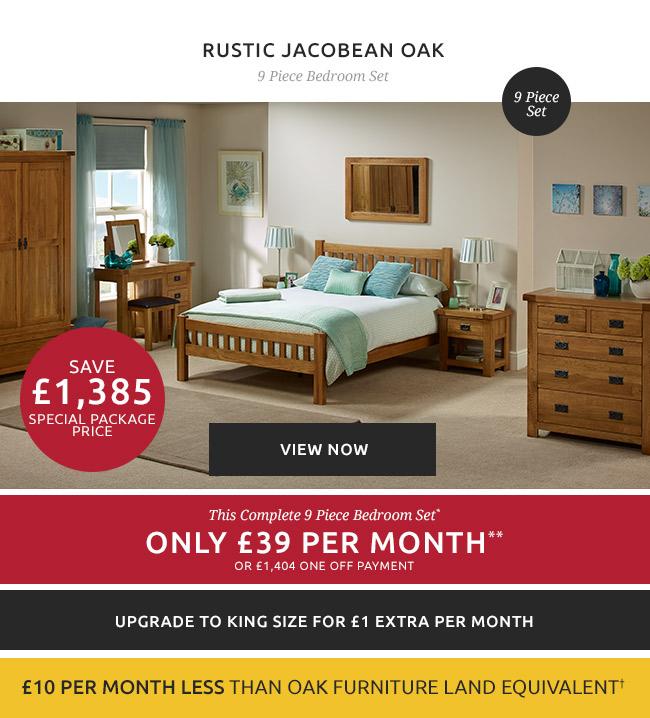 Rustic Jacobean Oak   9 Piece Bedroom Set