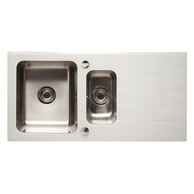 500x1000 Aire 1.5 Bowl RVS White Glass