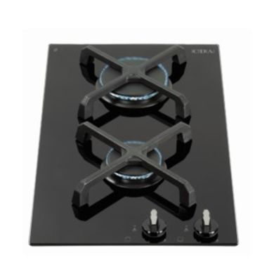 CDA H52xW300xD510 Gas-on-Glass 2 Burner Hob - Black Glass