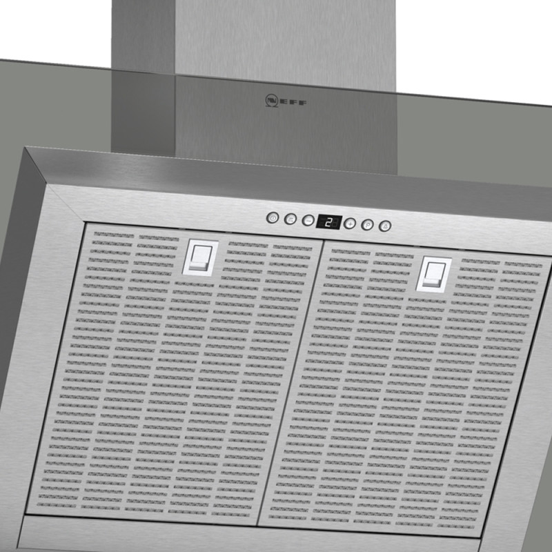 Neff H441xW900xD865 Chimney Cooker Hood - Stainless Steel and Grey Glass additional image 1