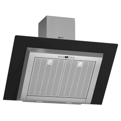 Neff H441xW900xD865 Chimney Cooker Hood - Stainless Steel and Black Glass