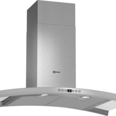 Neff H667xW900xD500 Chimney Cooker Hood - Stainless Steel and Grey Glass