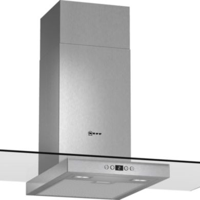Neff H634xW900xD540 Chimney Cooker Hood - Stainless Steel and Grey Glass