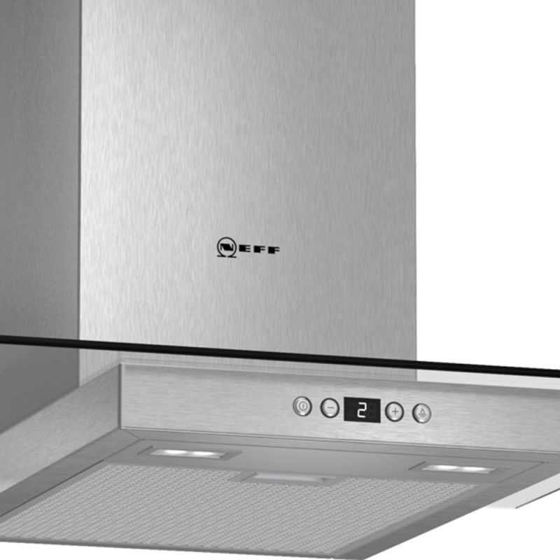 Neff H634xW600xD540 Chimney Cooker Hood - Stainless Steel and Grey Glass additional image 2