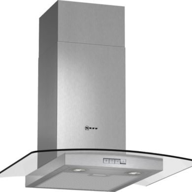 Neff H638xW600xD540 Chimney Cooker Hood - Stainless Steel and Grey Glass