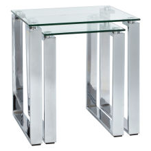 Mars Clear Glass/Silver Nest Of Two Tables