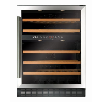 CDA H888xW595xD570 Under Counter Wine Cooler - Stainless Steel (2 Zone)