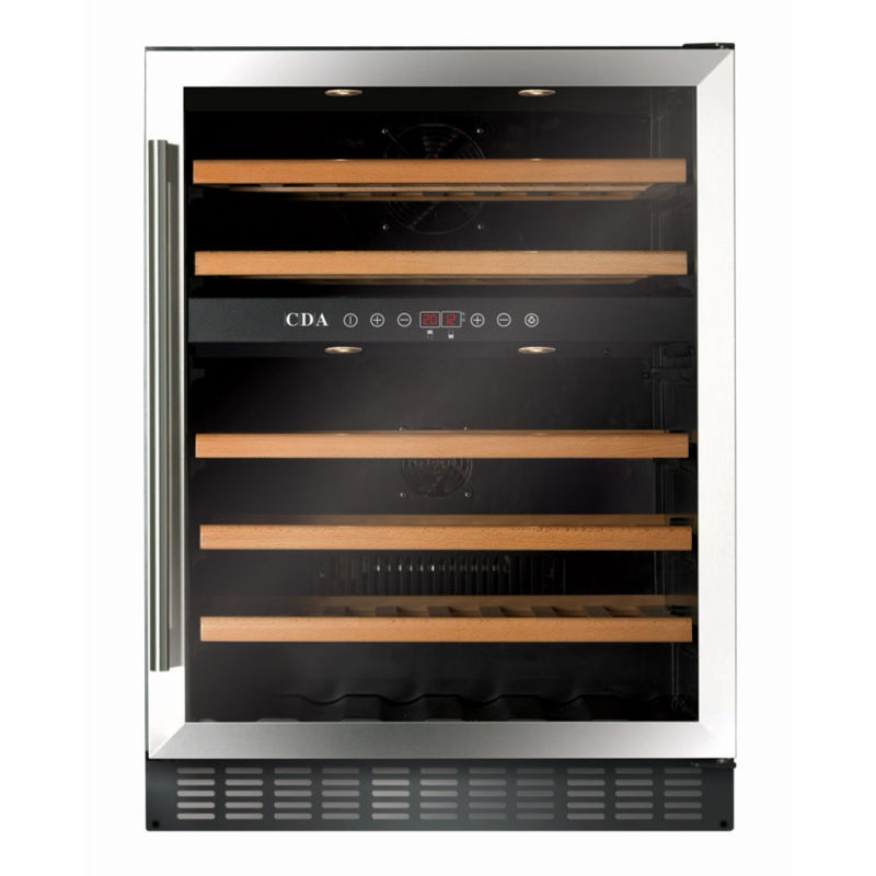 CDA H888xW595xD570 Under Counter Wine Cooler - Stainless Steel (2 Zone) primary image