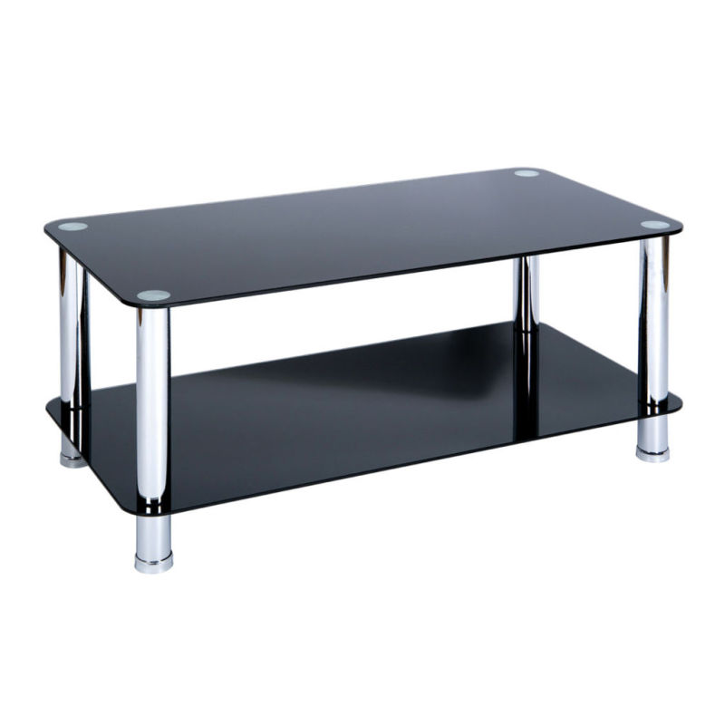 Wren Living Boyne Black Glass Coffee Table With Chrome Legs