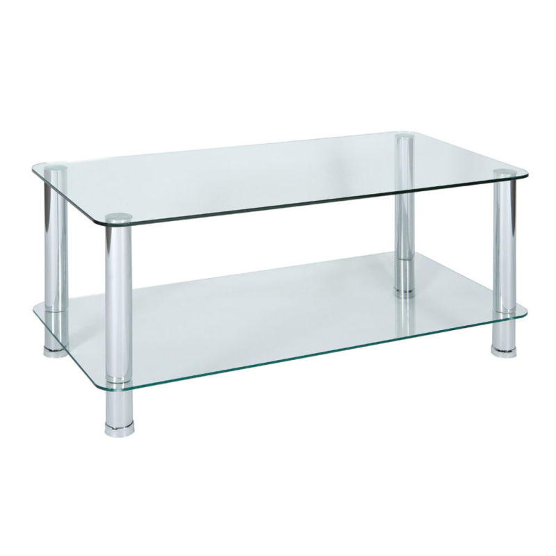 wren living boyne clear glass coffee table with chrome legs