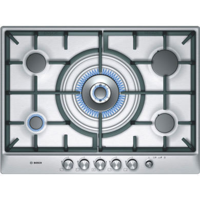 Bosch H45xW702xD520 5 Burner Hob - Brushed Steel