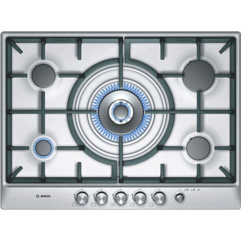 Bosch H45xW702xD520 5 Burner Hob - Brushed Steel primary image