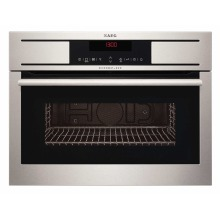 AEG H455xW594xD567 Compact Microwave With Grill - Stainless Steel