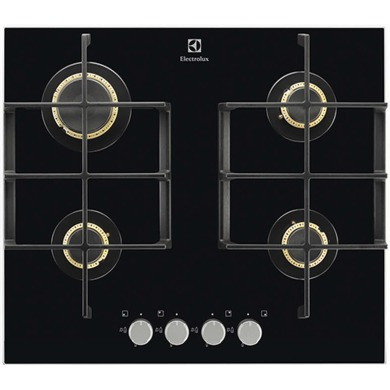 Electrolux H45xW590xD520 Gas On Glass Hob 4 Burner - Black