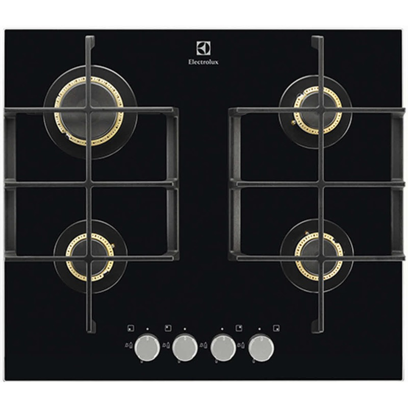 Electrolux H45xW590xD520 Gas On Glass Hob 4 Burner - Black primary image