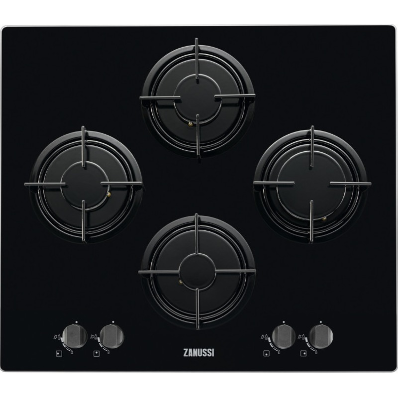 Zanussi H150xW710xD630 Gas On Glass 4 Burner Hob - Black primary image