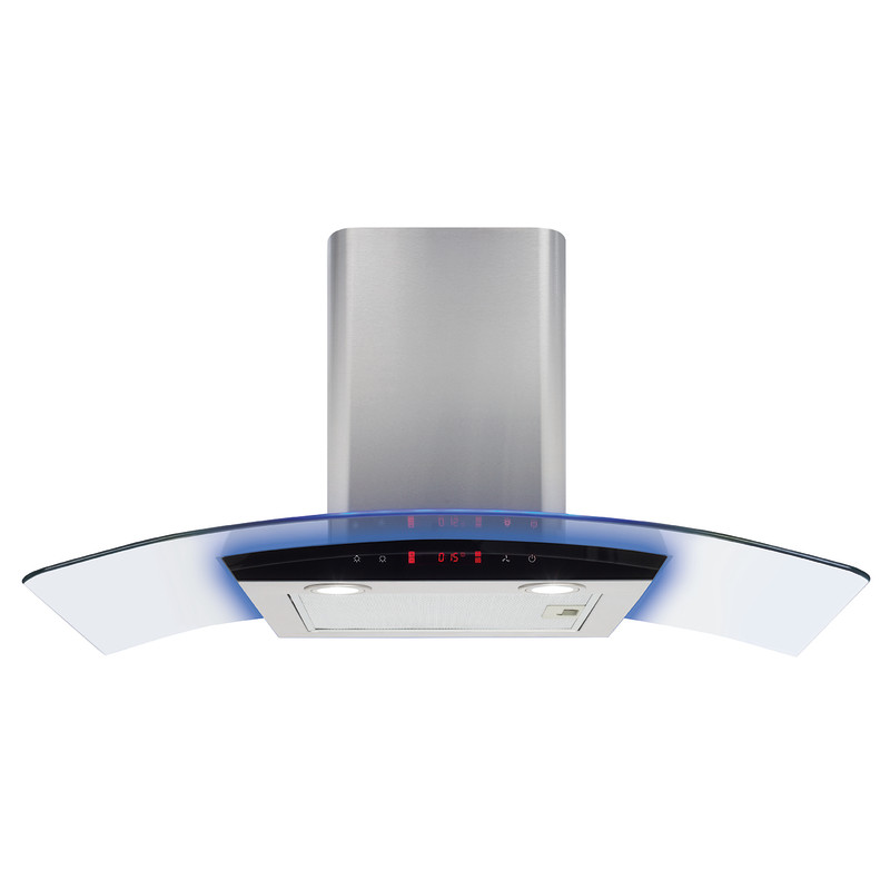 CDA H810xW900xD490 Curved Glass Chimney Hood - Stainless Steel primary image