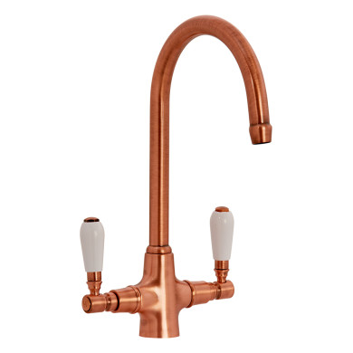 Fortuna Tap Copper with White Handles - High/Low Pressure