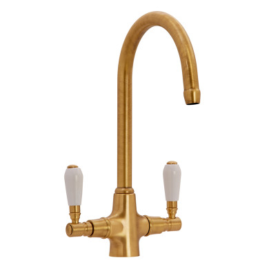 Fortuna Tap Bronze with White Handles - High/Low Pressure