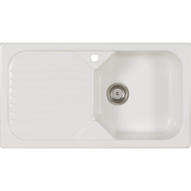 500x900 Swale Ceramic 1.0 Bowl LHD White