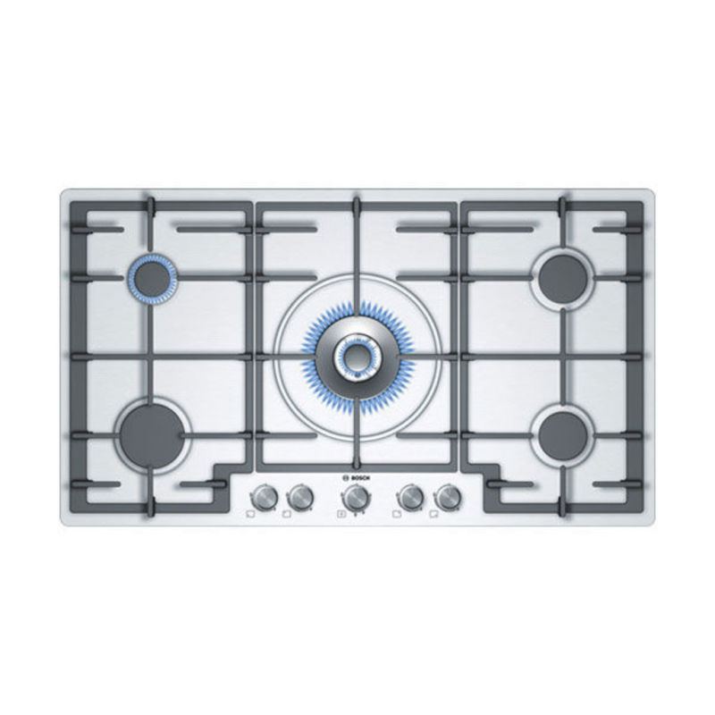 Bosch H45xW915xD520 Gas 5 Burner Hob - Brushed Steel primary image