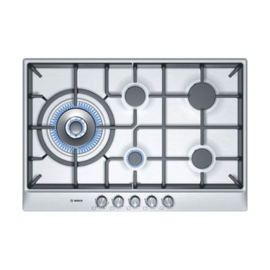 Bosch H45xW762xD520 Gas 5 Burner Hob - Stainless Steel