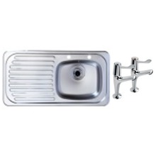 465x915 Tudor LHD S/Steel Sink and Lever Pillar Tap Pack