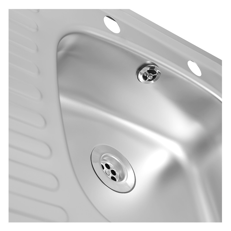 465x915 Tudor LHD S/Steel Sink and Lever Pillar Tap Pack additional image 4