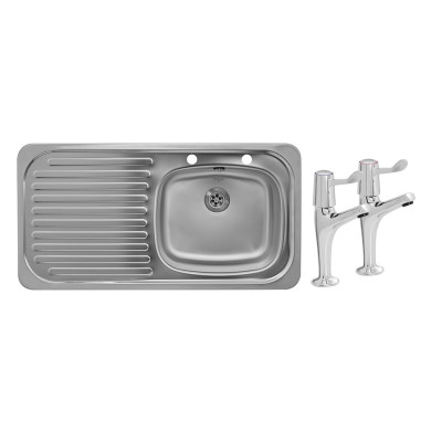 935x485 Tudor LHD S/Steel Sink and Lever Pillar Tap Pack