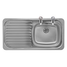 465x915 Tudor LHD S/Steel Sink and Pillar Tap Pack