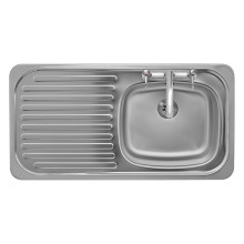 465x915 Tudor LHD S/Steel Sink and Deck Tap Pack