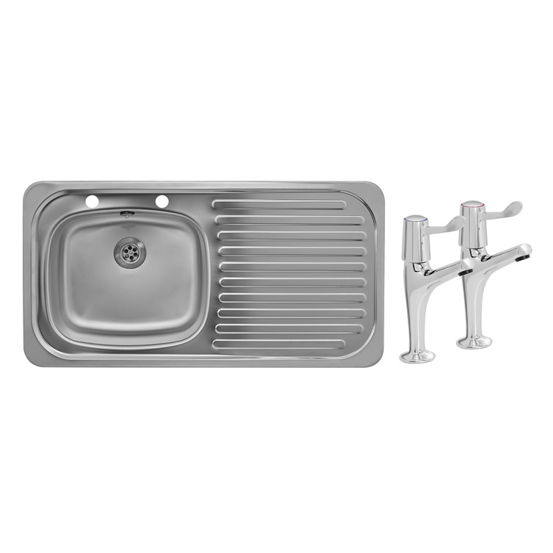 935x485 Tudor RHD S/Steel Sink and Lever Pillar Tap Pack primary image