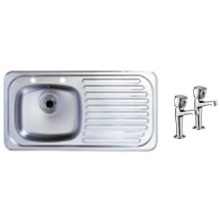 465x915 Tudor RHD S/Steel Sink and Pillar Tap Pack