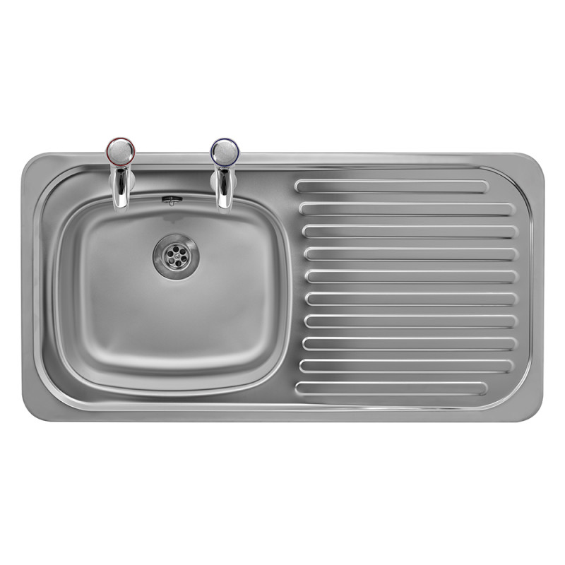 935x485 Tudor RHD S/Steel Sink and Pillar Tap Pack primary image