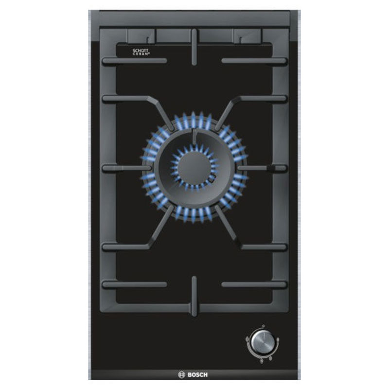 Bosch H45xW306xD527 Gas on Glass 1 Burner Hob - Black primary image