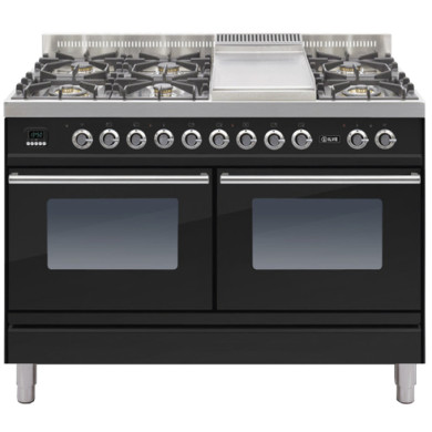 ILVE Roma 120cm Range Cooker  6 Burner Fry Top Gloss Black - PDW120FE3/N