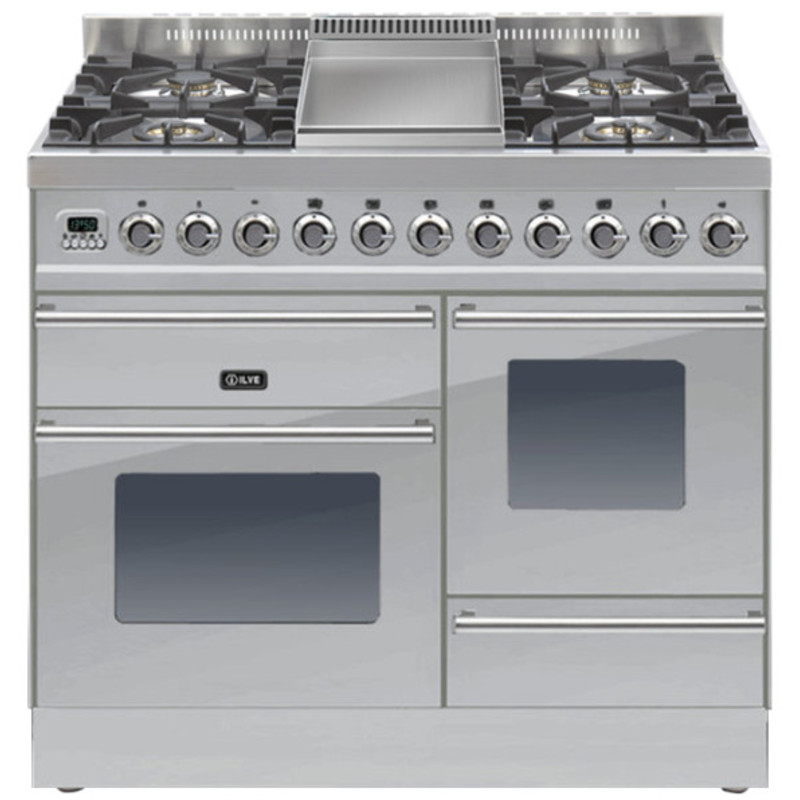 ILVE Roma 100cm XG Range Cooker  4 Burner Fry Top Stainless Steel - PTW100FE3/I primary image