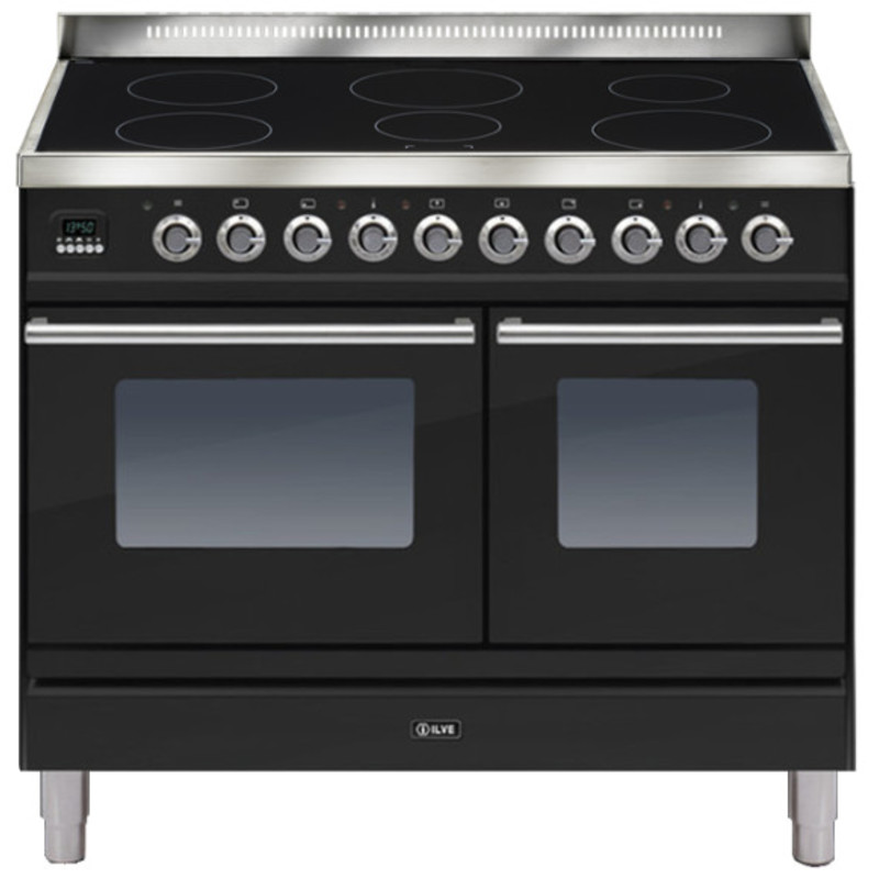 ILVE Roma 100cm Twin Range Cooker 6 Zone Induction Gloss Black - PDWI100E3/N primary image