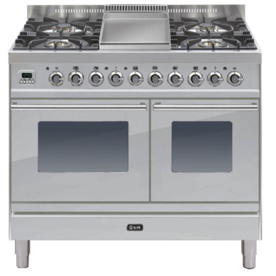 ILVE Roma 100cm Twin Range Cooker 4 Burner Fry Top Stainless Steel - PDW100FE3/I