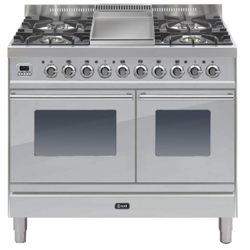 ILVE Roma 100cm Twin Range Cooker 4 Burner Fry Top Stainless Steel - PDW100FE3/I primary image