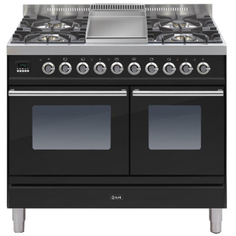 ILVE Roma 100cm Twin Range Cooker 4 Burner Fry Top Gloss Black - PDW100FE3/N primary image