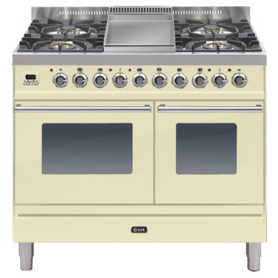 ILVE Roma 100cm Twin Range Cooker 4 Burner Fry Top Cream - PDW100FE3/A