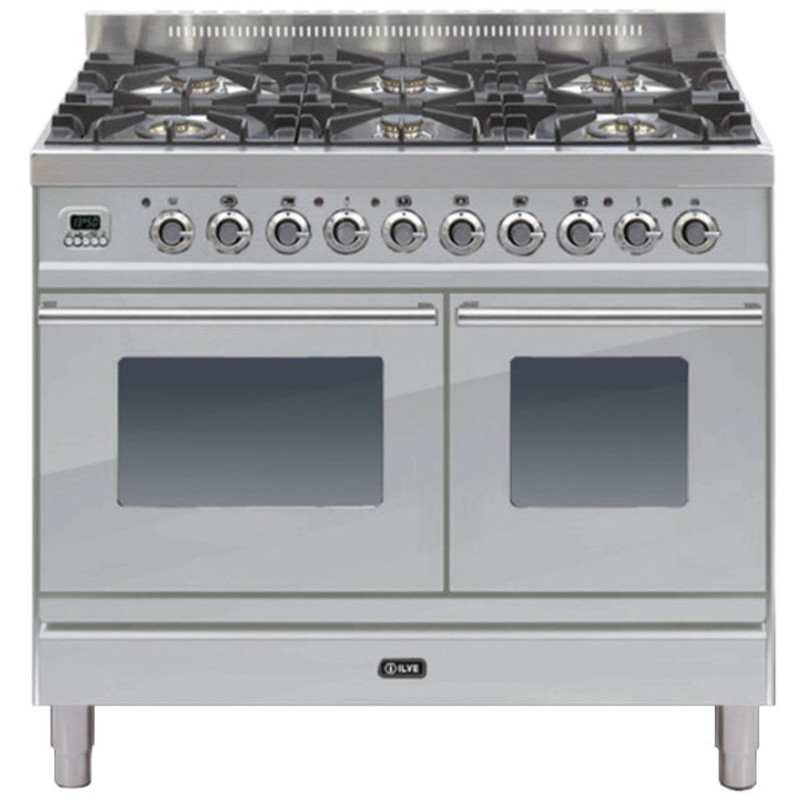 ILVE Roma 100cm Twin Range Cooker 6 Burner Stainless Steel - PDW1006E3/I primary image