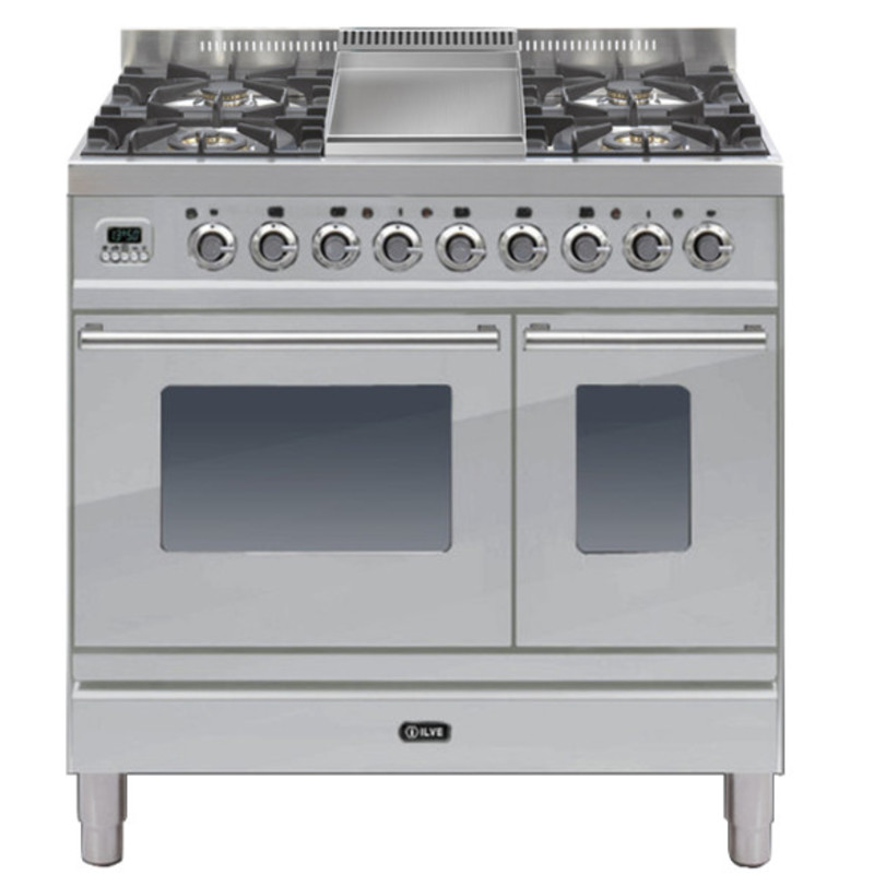 ILVE Roma 90cm Twin Range Cooker 4 Burner Fry Top Stainless Steel - PDW90FE3/I primary image