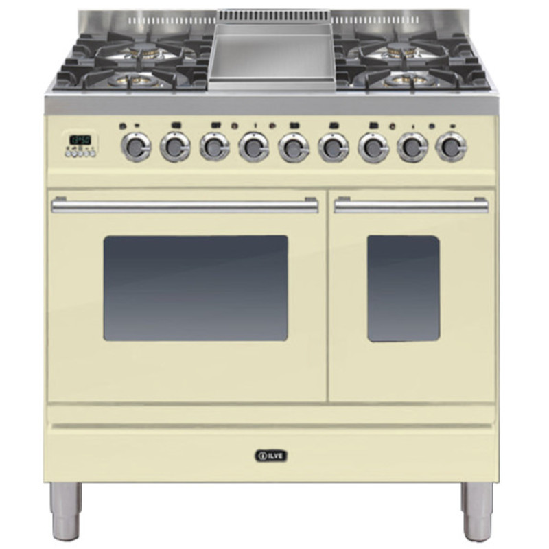 ILVE Roma 90cm Twin Range Cooker 4 Burner Fry Top Cream - PDW90FE3/A primary image