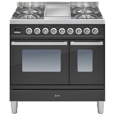 ILVE Roma 90cm Twin Range Cooker 4 Burner Fry Top Matt Black - PDW90FE3/M