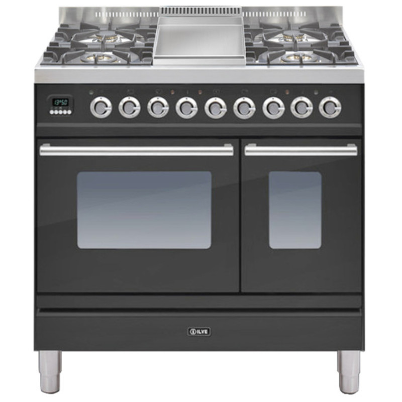 ILVE Roma 90cm Twin Range Cooker 4 Burner Fry Top Matt Black - PDW90FE3/M primary image