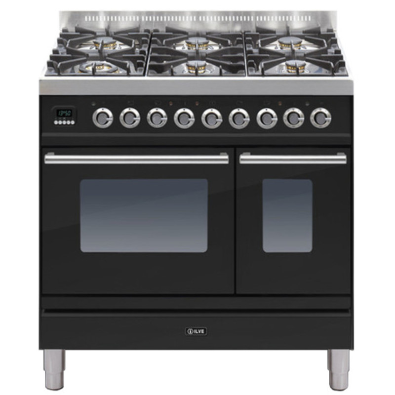 ILVE Roma 90cm Twin Range Cooker 6 Burner Gloss Black - PDW906E3/N primary image
