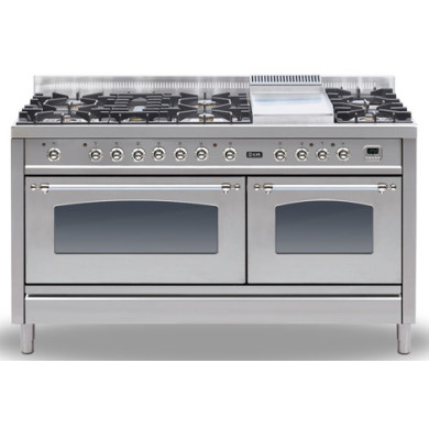 ILVE Milano 150cm Range Cooker 6 Burner Fish and Fry Top Stainless Steel Chrome - PN150FE3/IX
