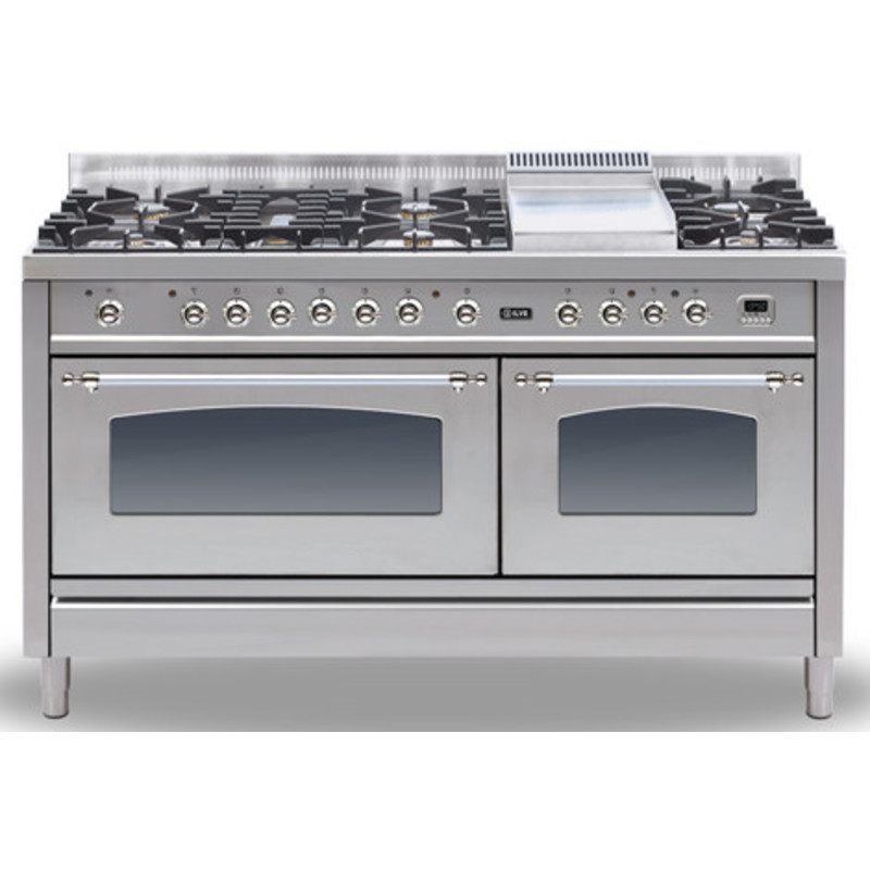 ILVE Milano 150cm Range Cooker 6 Burner Fish and Fry Top Stainless Steel Chrome - PN150FE3/IX primary image